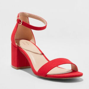 A New Day Women's Red Michaela Mid Block Heel Sandal NEW in Box