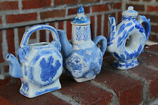 3 Chinese Porcelain Blue & White Teapots