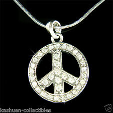 BOHO w Swarovski Crystal PEACE sign Symbol HIP HOP Eco Love Pendant Necklace New
