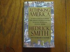 """HEDRICK  SMITH  Signed  Book  (""""RETHINKING  AMERICA""""-1995  1st Edition Hardback)"""