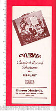 7477 G. Schirmer Boston Music Co c 1940 classical record flier RCA Victor