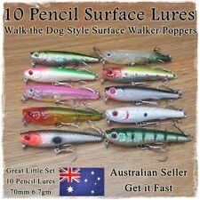 10 Fishing Pencil Lures Stick Bait Popper Topwater Hardbody Surface Fishing Lure