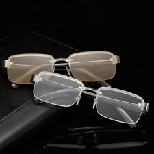 Classic High Quality Crystal HD Frameless Square Lens Reading Glasses brown