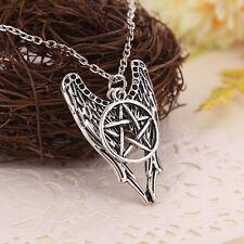 Necklace Suspension Pentagram Pendant Lover Castiel Wings Angel Wicca Jewelry~
