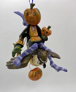 Vintage House of Hatten Denise Calla Halloween Pumpkin JOL Fairy Flying Owl 2003