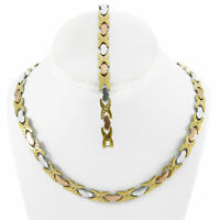 Hugs & Kisses Necklace Bracelet Set Stampato Stainless Steel Three Tone DC 18/20