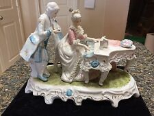 Victorian Style Porcelain Victorian Lady Playing Piano w Man Admiring Figurine