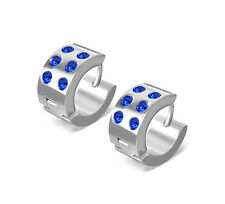 316L Surgical Stainless Sapphire CZ Huggie Earrings