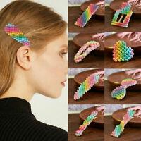 Cute Rainbow Color Pearl Hair Clip Snap Barrette Stick Hairpin Hair Accessory