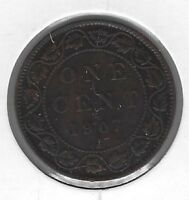 1907H Canada One Cent Coin F-12