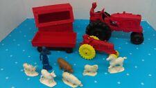 Vintage Auburn Rubber Farm Set Tractors-Animals-Figures-Barn Lot