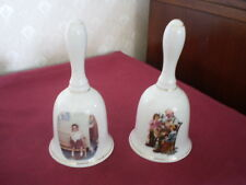 SET OF 2 1986 PORCELAIN NORMAN ROCKWELL COLLECTOR BELLS - THE TOY MAKER & SHINER