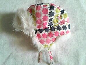 NWOT GYMBOREE Snow Sports Floral  Fur Trim Hat 12-24 months
