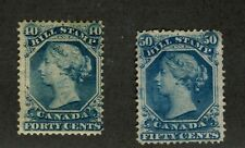 2x Federal Bill Used Stamps 1865 2nd Issue; FB-31-40c PH & FB32-50c T CV= $85.00