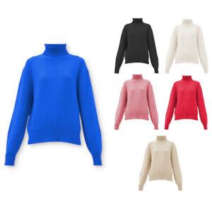 Women Knit Turtleneck Plain Sweater Pullover Jumper Modern Acrylic Cotton S M L