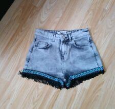 Primark Grey Denim high waisted shorts With Tassel Detail Size 6
