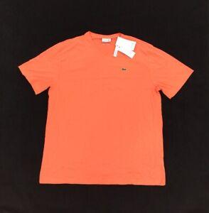 NEW Lacoste V-Neck Pima Cotton Short Sleeve Mens T Shirt Big Tall Orange 1XLB