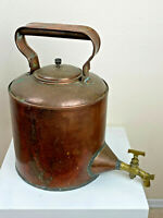 Heavy French Copper Cauldron w/ Brass Spigot Swivel Handle Lid Farm Kitchen Pot