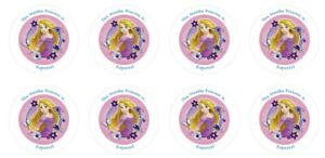 24 Personalised Tangled Rapunzel Goody Bag Stickers Sweet Cone Party Thank You