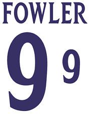 England Fowler 2002 Nameset Shirt Soccer Number Letter Heat Print Football H