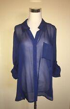 Diane von Furstenberg long sleeve sheer blue black striped 100% silk blouse SZ14