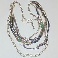 Signed Kenneth Cole New York multi strand asymmetrical beads faux pearl necklace