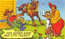 "Cartoon Farmer Horse  ""City Folk""  NYCECOLOR COMICS - Vintage LINEN Postcard"