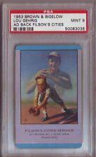 1953 Brown & Bigelow Ad Back LOU GEHRIG New York Yankees PSA Mint 9