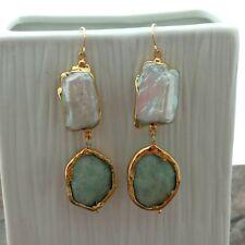 Biwa Pearl Amazonite 24 K Gold Plated Hook Earrings
