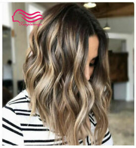 100% Human Hair New Charm Women's Fluffy Medium Brown Mix Blonde Wavy Full Wigs