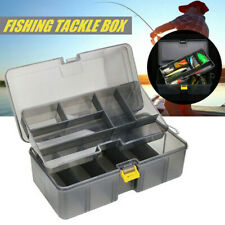 Waterproof Plastic Double Layers Fishing Tackle Box Lures Bait Storage Case UK