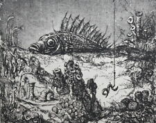 Vintage surrealist print fish signed
