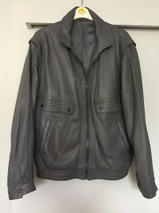 "LAKELAND Up To 46""Ch Mens Grey Soft Leather Bomber Jacket"