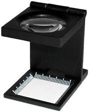 U Linen Tester Stamp Magnifier - 6X-28m lens-metal frame-new-Free US Shipping