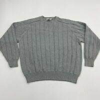 Geoffrey Beene Sweater Mens 2XL XXL Gray Crew Neck 100% Cotton Knit Ribbed