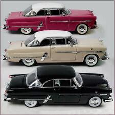 THREE WELLY 1953 FORD VICTORIA 1/24 DIECAST CARS UN-BOXED, MAROON CREAM & BLACK.