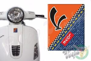 Front Badge Overlay V on Orange Love Denim 3D Decals sticker Vespa Gts Gt ET PX