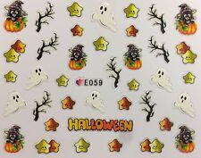 Halloween Nail Art Stickers Transfers Ghosts Pumpkins Gel Polish Star (E059)