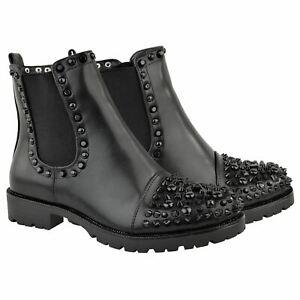 Womens Studded Spike Chunky Ankle Boots Black Punk goth Biker Rock Size UK