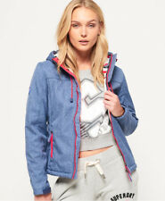 New Womens Superdry Hooded Sherpa SD-Windtrekker Jacket Navy Marl
