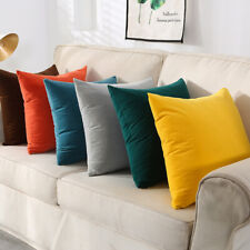 2 X Throw Pillowcase Velvet Cover Solid Square Soft for Couch Bed Sofa