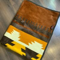 "Vintage Biederlack Blanket Throw Southwest Aztec Brown Yellow Germany 75"" x 57"""