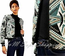 TOPSHOP ETNIC JACQUARD BLAZER STUDDED JACKET MEDIUM M 10 UK 38 EU 6 US