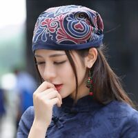 Ladies Chinese Ethnic Turban Hat Head Wrap Scarf Embroidered Floral Linen Cotton