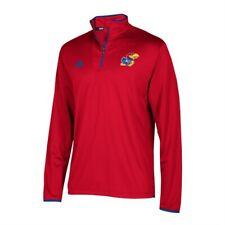 Adidas NCAA Men's Kansas Jayhawks Climalite Quarter Zip Pullover, Red