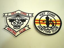 2 VIET CONG HUNTING CLUB Embroidered Military REPLICA PATCHES Vietnam War PATCH