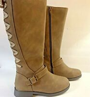 SO Girls Boots Cicely Size 13M Laced Riding Boots Taupe Zip Memory Foam New