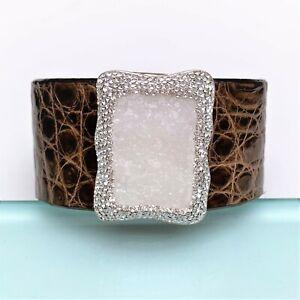 La Costa Organic Crocodile & White Calcite & Clear Crystal Cuff Bracelet
