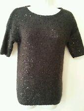 Ann Taylor Sweater 3/4 Sleeve Black Cardigan  XS Geometric Polyester Blend