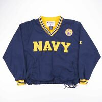 Vintage US NAVY Blue & Yellow Pullover Nylon CHAMPION Sweatshirt Size Mens Large